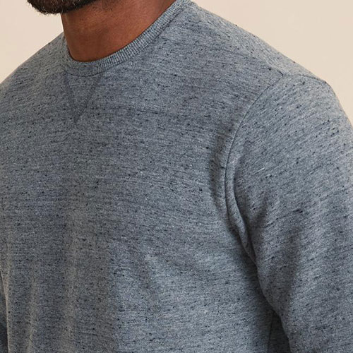 marine-layer-re-spun-crewneck-sweatshirt-in-blue-neps Available online or in store at assembly88 men's shop in Allentown, PA