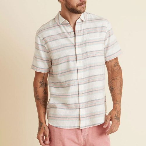 marine-layer-short-sleeve-selvage-shirt-in-aqua-peach-multi-stripe Available online or in store at assembly88 men's shop in Allentown, PA