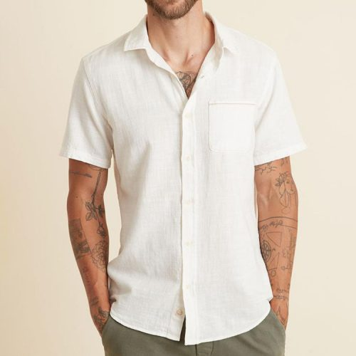 marine-layer-short-sleeve-selvage-shirt-in-natural Available online or in store at assembly88 men's shop in Allentown, PA