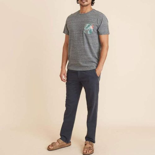 marine-layer-signature-pocket-tee-in-heather-grey-neps available online or in store at assembly88 men's shop in Allentown, PA