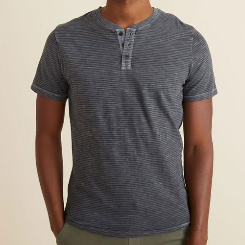 marine-layer-short-sleeve-cotton-slub-henley-in-magnet-black-stripe Available online or in store at assembly88 men's shop in Allentown, PA