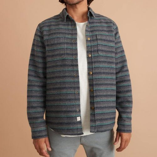 marine-layer-striped-snap-shacket-in-navy-grey-green-stripe Available online or in store at assembly88 men's shop in Allentown, PA