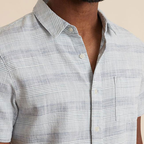 marine-layer-short-sleeve-selvage-shirt-in-blue-variegated-stripe Available online or in store at assembly88 men's shop in Allentown, PA