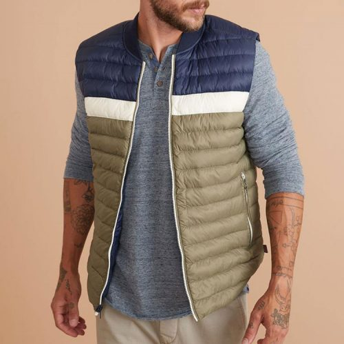 marine-layer-vail-reversible-puffer-vest-in-black-iris-dusty-olive Available online or in store at assembly88 men's shop in Allentown, PA