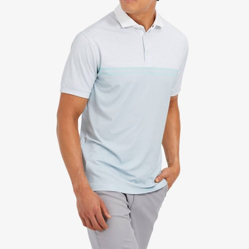 mizzenmain-clubhouse-polo-sea-green-light-blue-stripe Available online or in store at assembly88 men's shop in Allentown, PA