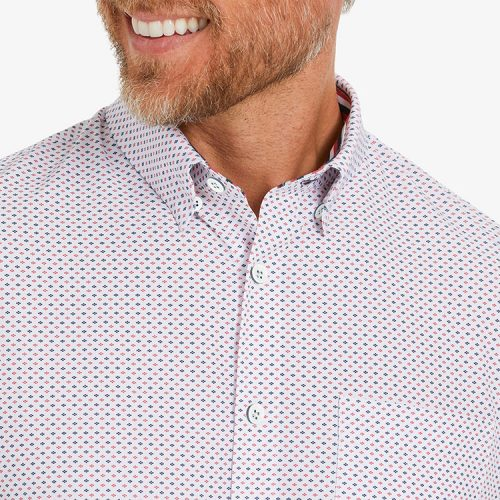 mizzenmain-leeward-short-sleeve-red-navy-dot Available online or in store at assembly88 men's shop in Allentown, PA