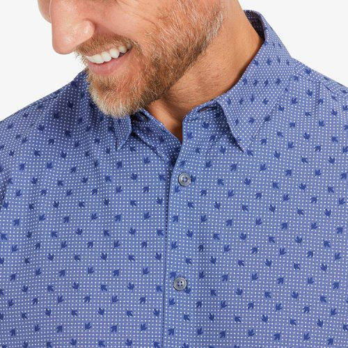 mizzenmain-leeward-short-sleeve-navy-leaf-dot-print Available online or in store at assembly88 men's shop in Allentown, PA