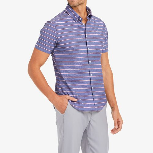 mizzenmain-leeward-short-sleeve-chambray-horizontal-stripe-print Available online or in store at assembly88 men's shop in Allentown, PA
