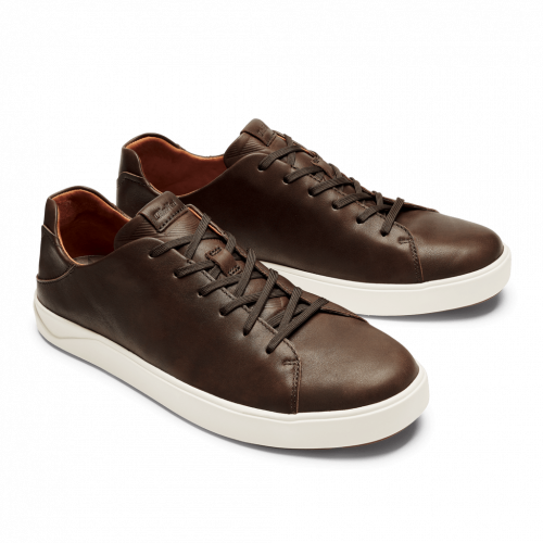 Olukai Lae'Ahi Li 'Ili leather Sneaker Dark Wood