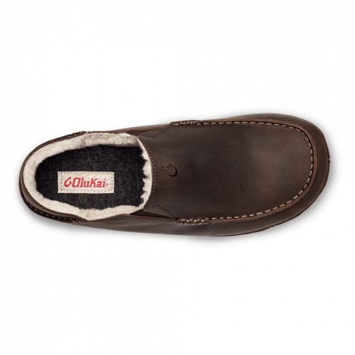 Olukai Moloa Leather Shearling Lined Slipper Dark Wood
