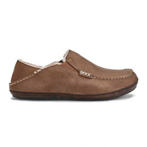 Olukai Moloa Nubuck Leather Slipper Toffee / Dark Wood