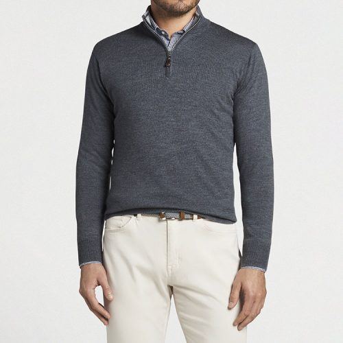 peter-millar-crown-soft-merino-silk-quarter-zip-sweater-charcoal Available online or in store at assembly88 men's shop in Allentown, PA