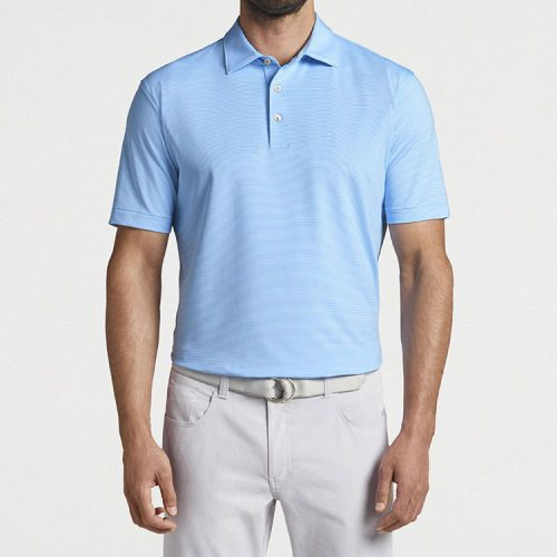 peter-millar-jubilee-stripe-performance-polo-beta-blue-white Available online or in store at assembly88 men's shop in Allentown, PA