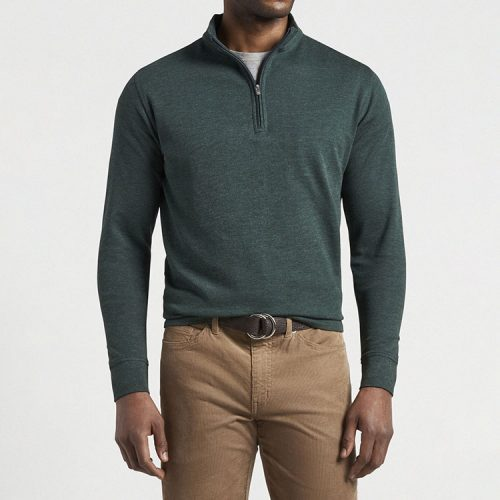 peter-millar-crown-comfort-interlock-quarter-zip-nordic-pine Available online or in store at assembly88 men's shop in Allentown, PA