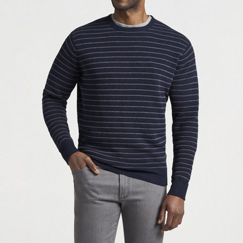 peter-millar-cotton-merino-striped-honeycomb-crew-navy Available online or in store at assembly88 men's shop in Allentown, PA