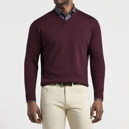 peter-millar-crown-soft-merino-silk-v-neck-sweater-cinnamon Available online or in store at assembly88 men's shop in Allentown, PA