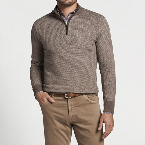 peter-millar-two-color-broken-jersey-quarter-zip-taupe Available online or in store at assembly88 men's shop in Allentown, PA