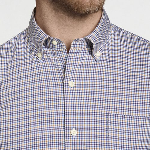 peter-millar-crown-lite-mini-check-cotton-sport-shirt-mulberry Available online or in store at assembly88 men's shop in Allentown, PA