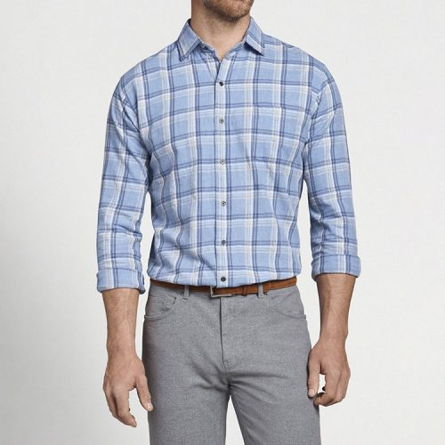 peter-millar-pointe-claire-cotton-sport-shirt-astral-blue Available online or in store at assembly88 men's shop in Allentown, PA