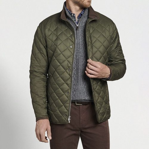 peter-millar-suffolk-quilted-travel-coat-olive Available online or in store at assembly88 men's shop in Allentown, PA