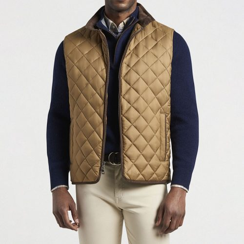 peter-millar-essex-quilted-travel-vest-khaki Available online or in store at assembly88 men's shop in Allentown, PA