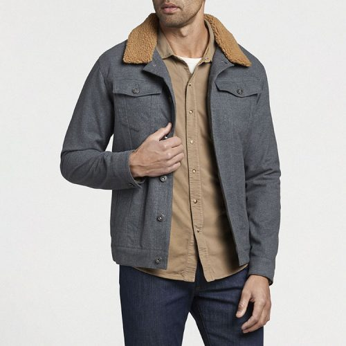 peter-millar-mountainside-flannel-trucker-jacket-charcoal Available online or in store at assembly88 men's shop in Allentown, PA