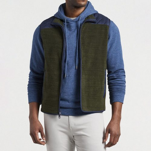 peter-millar-micro-shearling-fleece-vest-dark-olive Available online or in store at assembly88 men's shop in Allentown, PA
