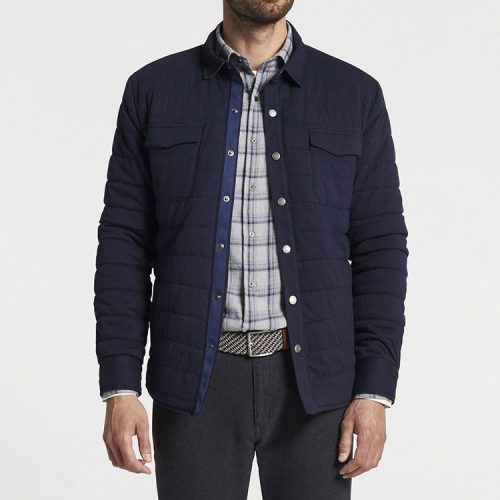 peter-millar-cotton-cashmere-knit-shirt-jacket-navy Available online or in store at assembly88 men's shop in Allentown, PA