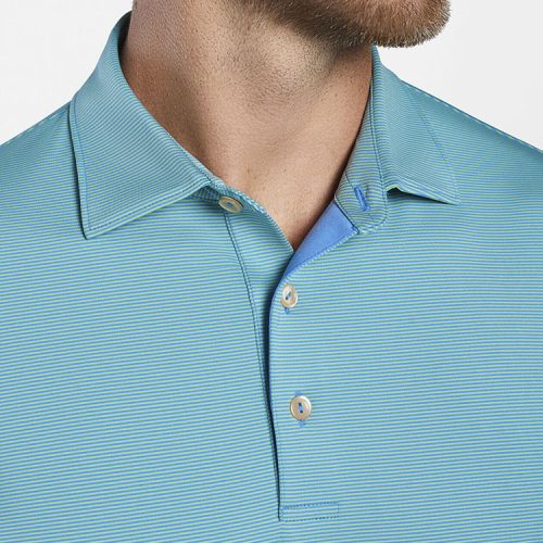 peter-millar-jubilee-stripe-performance-polo-blue-river-mint-leaf Available online or in store at assembly88 men's shop in Allentown, PA