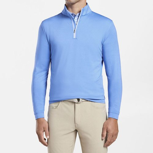 peter-millar-perth-performance-melange-quarter-zip-blue-river Available online or in store at assembly88 men's shop in Allentown, PA