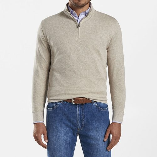 peter-millar-crown-comfort-interlock-quarter-zip-stone Available online or in store at assembly88 men's shop in Allentown, PA