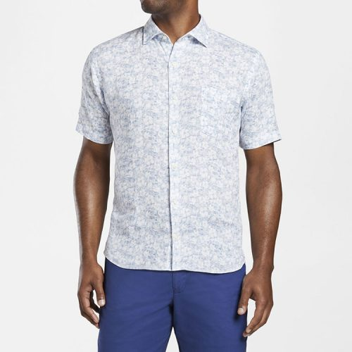 peter-millar-floral-aura-linen-short-sleeve-sport-shirt-white Available online or in store at assembly88 men's shop in Allentown, PA