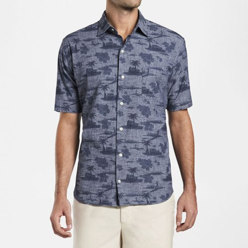 peter-millar-landscape-cotton-blend-short-sleeve-sport-shirt-indigo Available online or in store at assembly88 men's shop in Allentown, PA