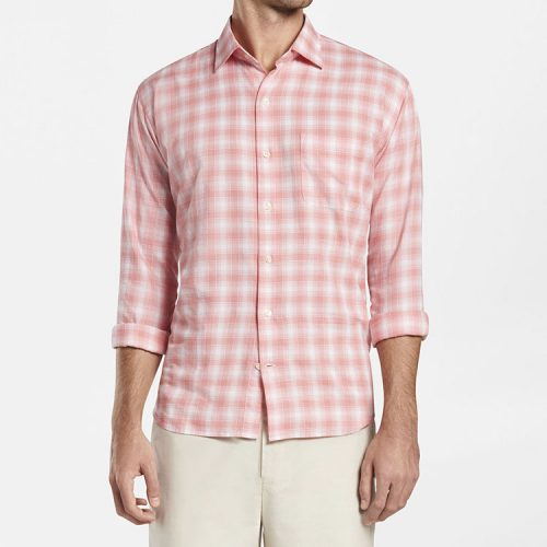 peter-millar-lovells-island-cotton-sport-shirt-wild-salmon Available online or in store at assembly88 men's shop in Allentown, PA