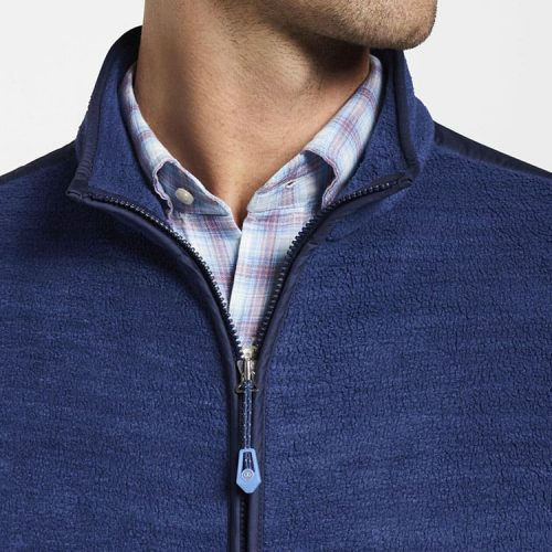 peter-millar-seaside-fleece-vest-atlantic-blue available online or in store at assembly88 men's store in Allentown, PA.