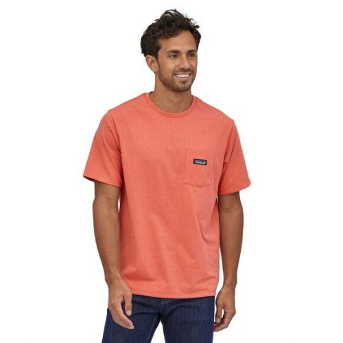 patagonia-P-6-Label-Pocket-Responsibili-Tee®-Coho-Coral Available online or in store at assembly88 men's shop in Allentown, PA