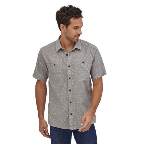 patagonia-back-step-shirt-guava-floral-toss-salt-grey Available online or in store at assembly88 men's shop in Allentown, PA