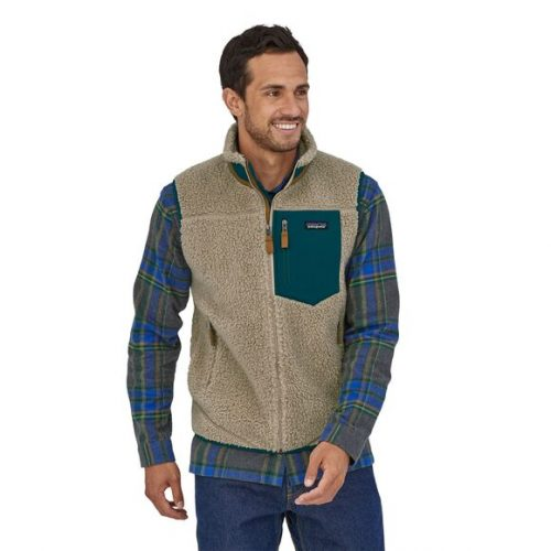 patagonia-classic-retro-x-fleece-vest-pelican-w-dark-borealis-green Available online or in store at assembly88 men's shop in Allentown, PA
