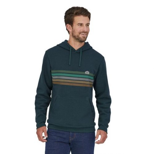 patagonia-line-logo-ridge-stripe-uprisal-hoody-dark-borealis-green Available online or in store at assembly88 men's shop in Allentown, PA