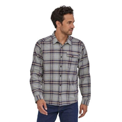 patagonia-long-sleeved-lightweight-fjord-flannel-shirt-lawrence-salt-grey For sale online and store at assembly88 men's shop in Allentown, PA
