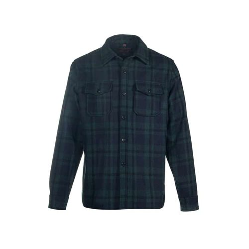 Schott Plaid Wool Blend Quilt Lined CPO Shirt Hunter