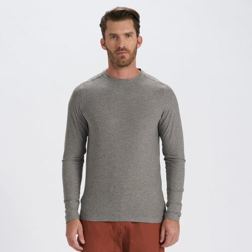 vuori-long-sleeve-strato-tech-tee-heather-grey Available online or in store at assembly88 men's shop in Allentown, PA