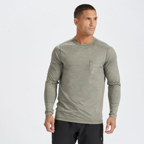 vuori-long-sleeve-tradewind-performance-tee-army-heather Available online or in store at assembly88 men's shop in Allentown, PA
