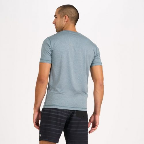 vuori-tradewind-performance-tee-steel-blue-heather Available online or in store at assembly88 men's shop in Allentown, PA