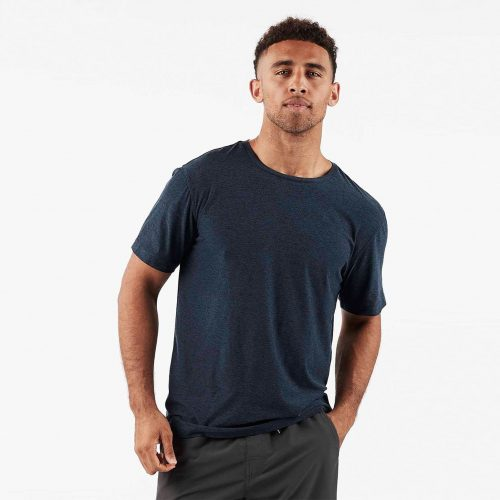 vuori-strato-tech-tee-navy-heather-men's-tee Available online or in store at assembly88 men's shop in Allentown, PA