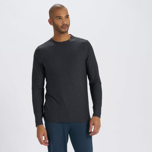 vuori-long-sleeve-strato-tech-tee-charcoal-heather Available online or in store at assembly88 men's shop in Allentown, PA