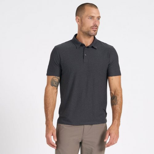 vuori-strato-tech-polo-charcoal-heather Available online or in store at assembly88 men's shop in Allentown, PA