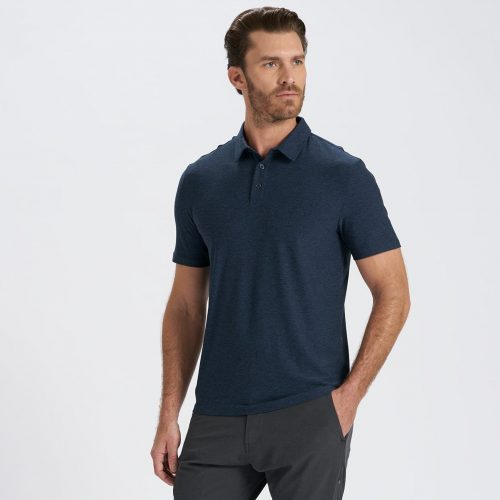 vuori-strato-tech-polo-navy-heather Available online or in store at assembly88 men's shop in Allentown, PA