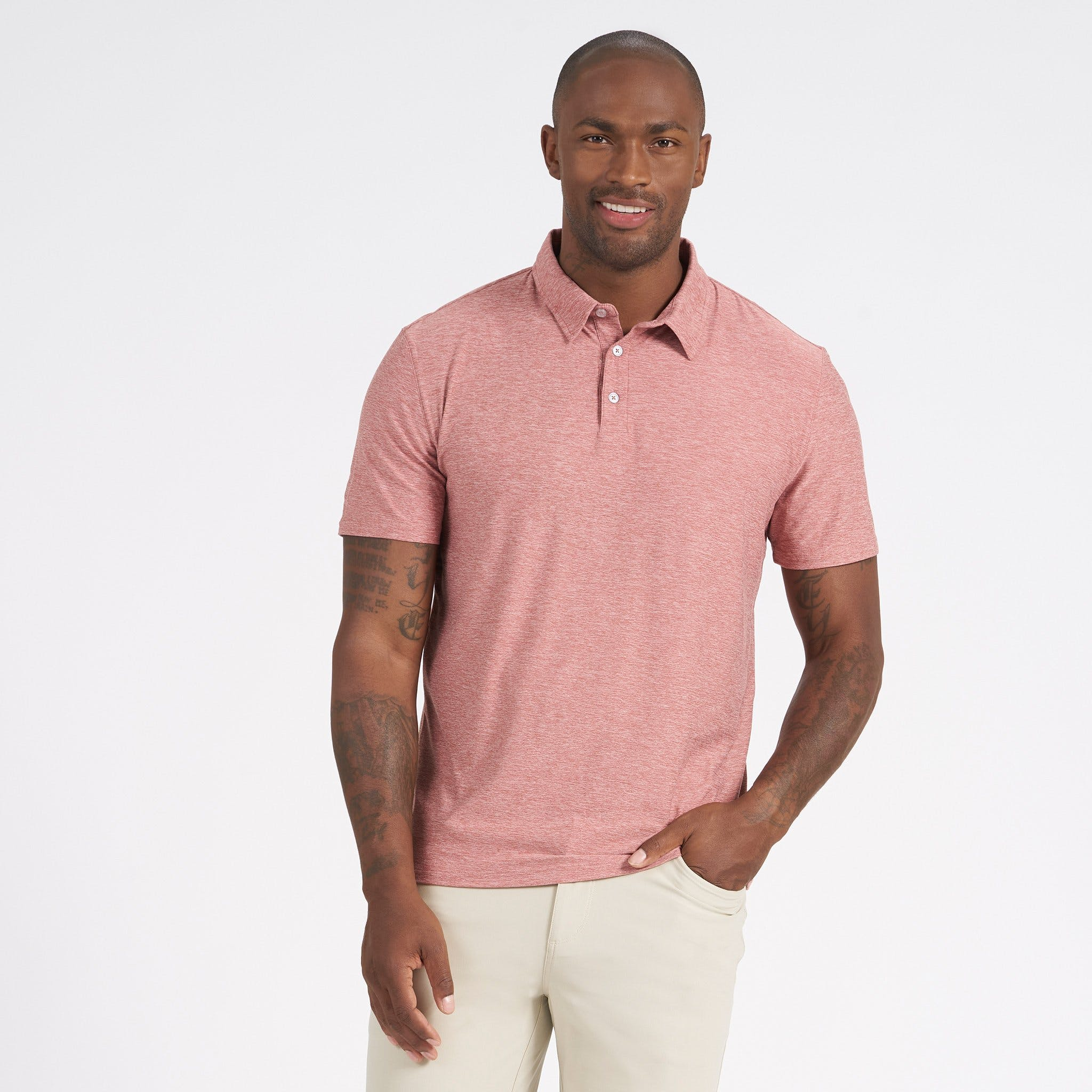 vuori-strato-tech-polo-redwood-heather Available online or in store at assembly88 men's shop in Allentown, PA