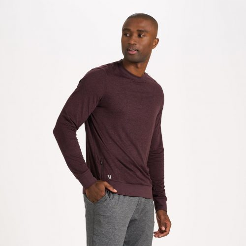 vuori-ponto-performance-crew-oxblood-heather Available online or in store at assembly88 men's shop in Allentown, PA